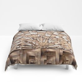 Art Deco Weathered Copper I Comforters
