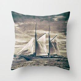 Sailing Yacht Wooden Schooner Throw Pillow