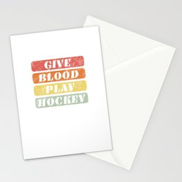 Give Blood Play Hockey - Switch + Funny Ice Hockey Stationery Cards