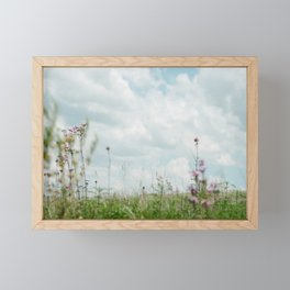 Wildflower Sky - Clouds and Flowers Framed Mini Art Print