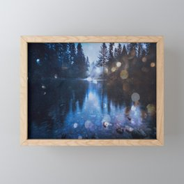 Magical Blue Forest Water Reflection - Nature Photography Framed Mini Art Print