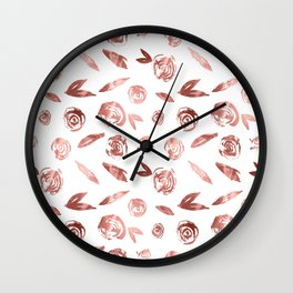 Rose Gold Roses Rosette Pattern Pink on White Wall Clock