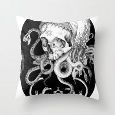 Witch Skull Throw Pillow