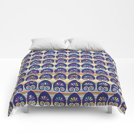 Multicolored fans and stripes pattern Comforters