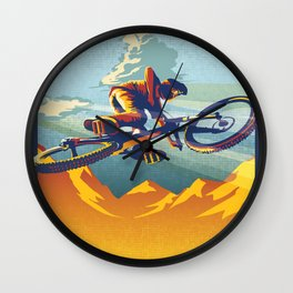 "Retro Mountain Bike Poster/ Illustration / fine art print 11X17""  My AirMiles Wall Clock"