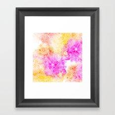 Pink orange botanical watercolor hand drawn floral pattern Framed Art Print