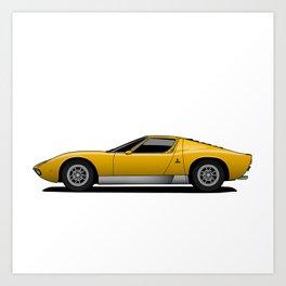 Yellow Sports Car Art Print