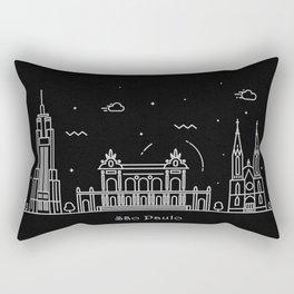 Sao Paulo Minimal Nightscape / Skyline Drawing Rectangular Pillow