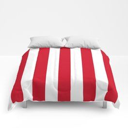 Chinese red - solid color - white vertical lines pattern Comforters