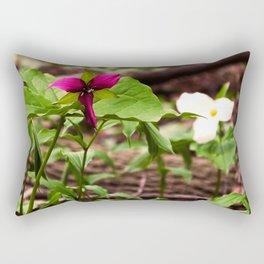 Understory Ephemerals - Red Trillium and White Trillium Rectangular Pillow
