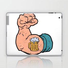 arm flexed with beer tattoo Laptop & iPad Skin