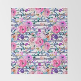 Pink mauve lilac hand painted watercolor roses floral stripes Throw Blanket