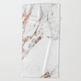 Rose gold foil marble Beach Towel