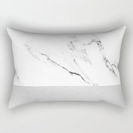 White Marble with Black and Grey Silver Stripe Rectangular Pillow