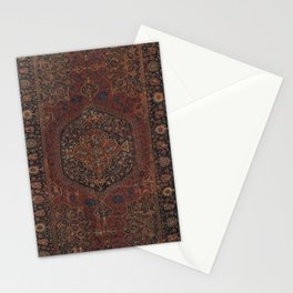 Boho Chic Dark I // 17th Century Colorful Medallion Red Blue Green Brown Ornate Accent Rug Pattern Stationery Cards