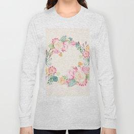 Spring Bouquet Wreath Seashell Floral Print Long Sleeve T-shirt