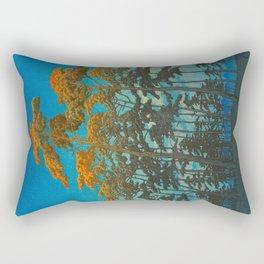 Vintage Japanese Woodblock Print Art Print Tall Sunset Trees Silhouette Twilight Forest East Asian Rectangular Pillow