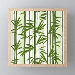 Green bamboo tree shoots pattern Framed Mini Art Print