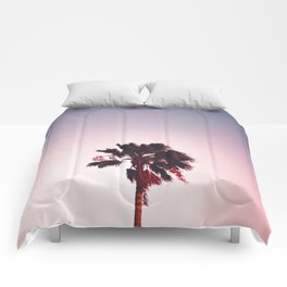 Pink And Purple Background Sunset Minimalist Palm Tree Silhouette Modern Photo California Comforters