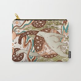 Jurassic Portal | Retro Rainbow Palette | Dinosaur Science Fiction Art Carry-All Pouch
