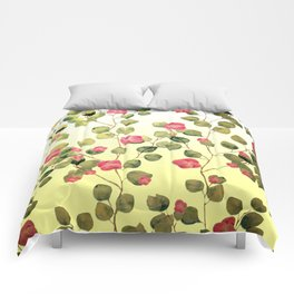"""Spring pink flowers and leaves"" Comforters"