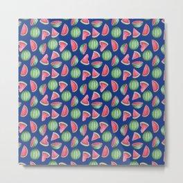 Watermelon Pattern, Blue Background Metal Print