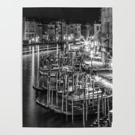 VENICE View from Rialto Bridge | Monochrome Poster