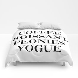 coffee croissants peonies Comforters