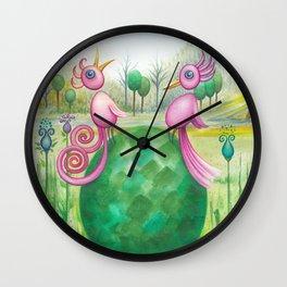 2 cute pink birds in a tree Wall Clock