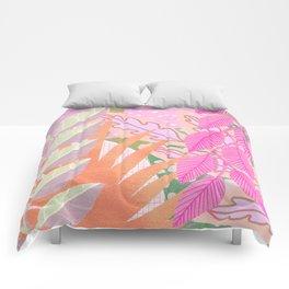 Modern Jungle Plants - Pink Green Purple Comforters