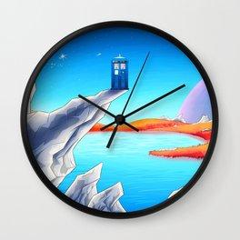 tardis space at starry night Wall Clock