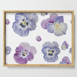 Watercolor Pansy Pattern Serving Tray