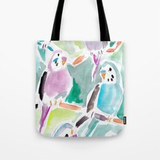 Budgies on Branches Tote Bag