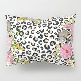Elegant leopard print and floral design Pillow Sham