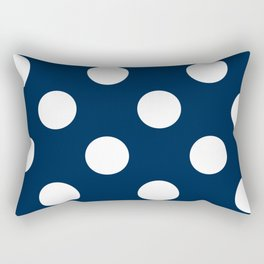 Large Polka Dots - White on Oxford Blue Rectangular Pillow