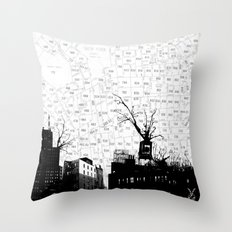 NYC splatterscape Throw Pillow