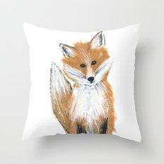 Fox on Snow Throw Pillow