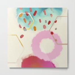 pink circle abstract dots dancing polka in rain Metal Print