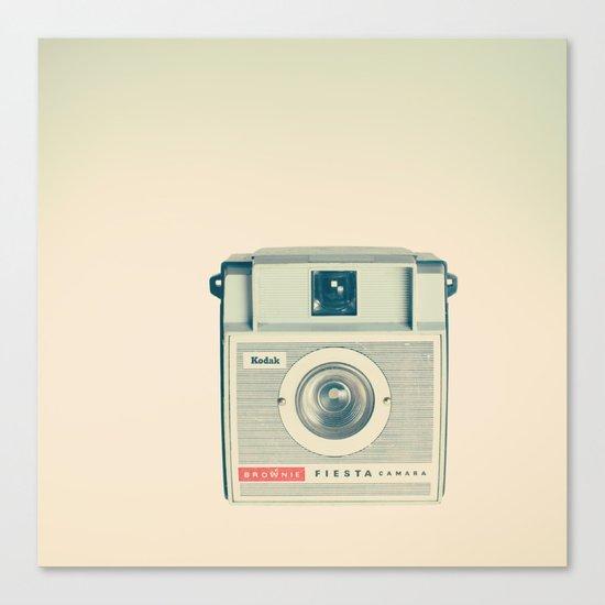 Fiesta - Beige Brownie Retro Vintage Camera Canvas Print