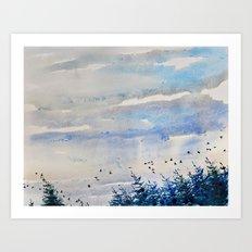 black birds, blue sky Art Print