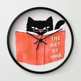 Cat reading book Wall Clock