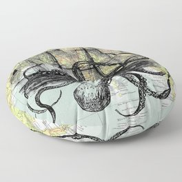 Octopus Attacks Ship on map background Floor Pillow