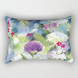 Blue Wild Flowers with Thistles and Daisies Rectangular Pillow