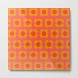 Retro Mod Flower Pattern in Orange Metal Print