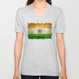 Flag of India - Grungy Vintage Unisex V-Neck