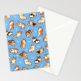 Jolly corgis in blue Stationery Cards