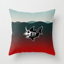 Dark Unicorn Shark Skeleton Throw Pillow