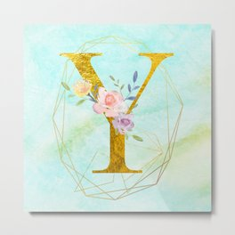 Gold Foil Alphabet Letter Y Initials Monogram Frame with a Gold Geometric Wreath Metal Print