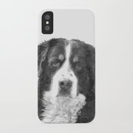 Black and White Bernese Mountain Dog iPhone Case