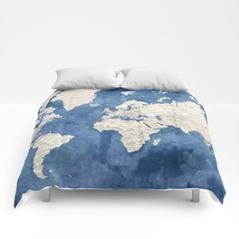 Light brown and blue watercolor detailed world map Comforters